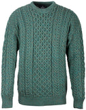 Merino Wool Crew Neck Aran Sweater