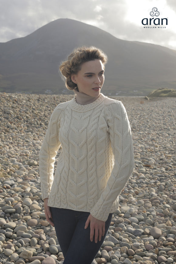 Super Soft Merino Wool Cable Knit Aran Sweater