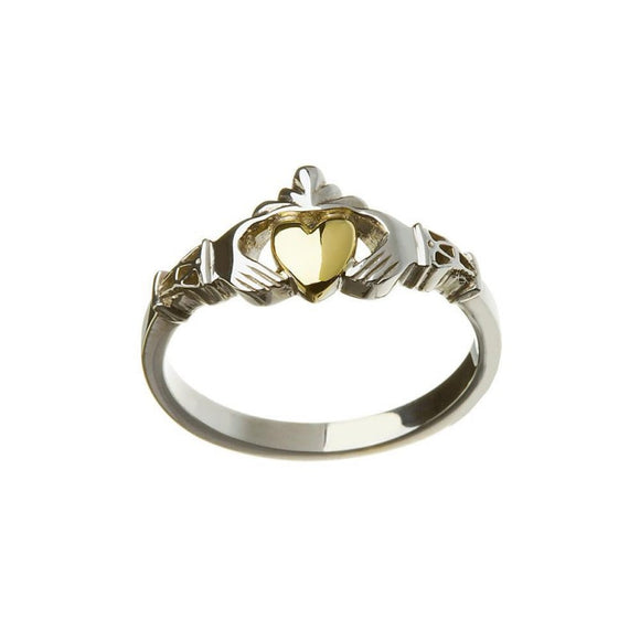 New York Claddagh with Gold Heart