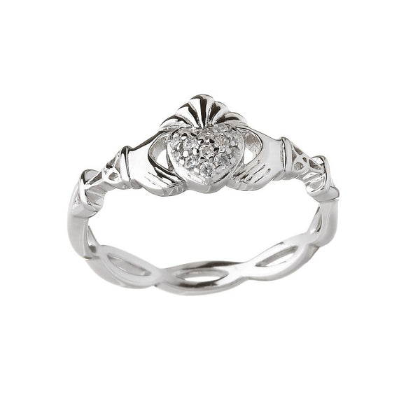 Cubic Zirconia Pave Weave Band Claddagh Ring