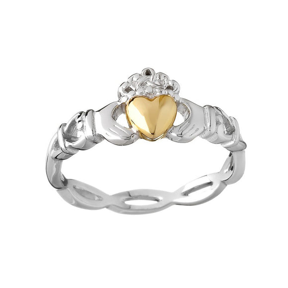 Weave Band Claddagh Ring with Gold Heart