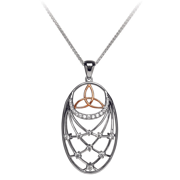 Silver Pendant Trinity Stone Set Interlaced