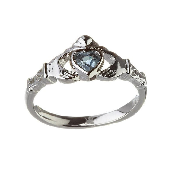 December Birthstone Claddagh Ring