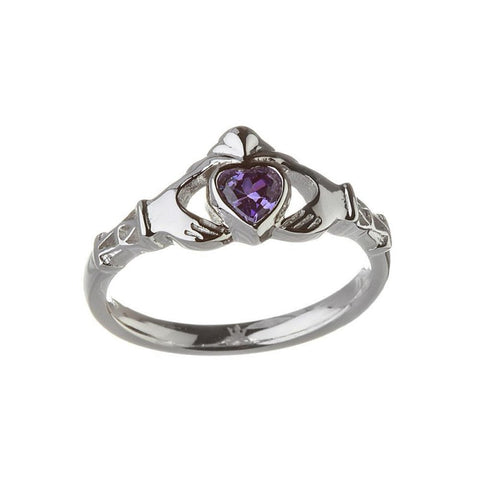 February Birthstone Claddagh Ring