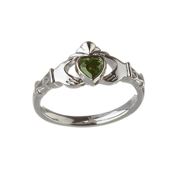 May Birthstone Claddagh Ring