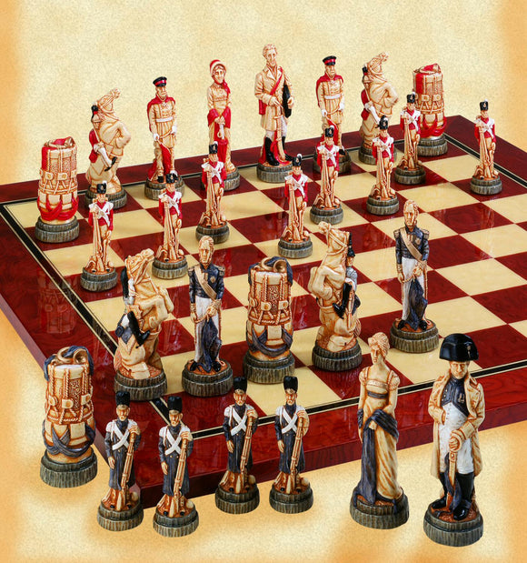 Painted Battle of Waterloo Chess Set