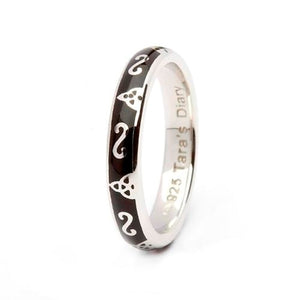 Black Enamel Trinity Silver Stacking Ring