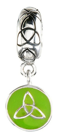 Green Enamel Dangle Trinity Silver Bead