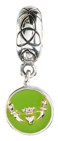 Green Enamel Dangle Claddagh Trinity Bead