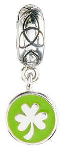 Green Enamel Dangle Shamrock Trinity Bead