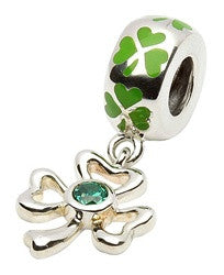 Green Enamel Silver Shamrock Drop Bead