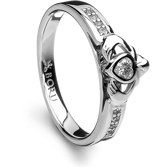 Silver Ring Stone Set Raised Claddagh