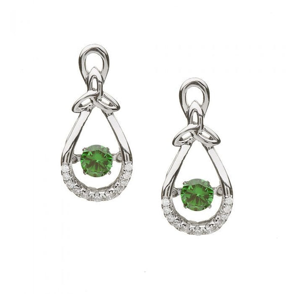 Dancing Stone Trinity Bow Earrings Green Stone