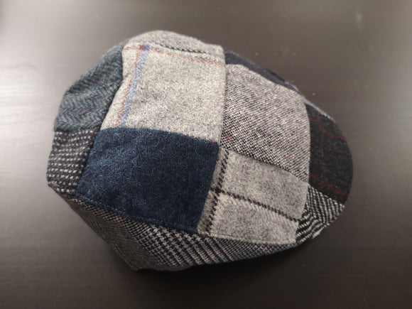 Blue Patchwork Tweed Donegal Touring Cap