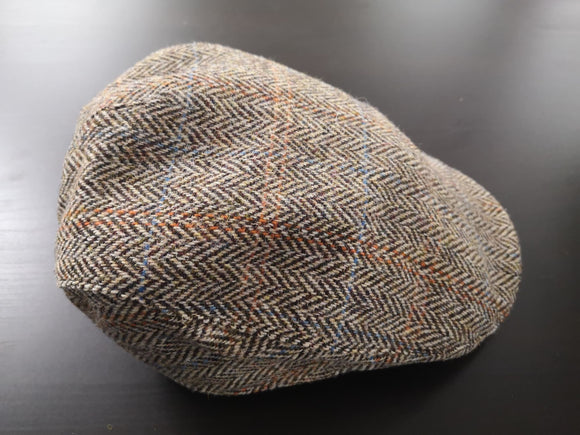 Light Brown Herringbone Tweed Donegal Touring Cap
