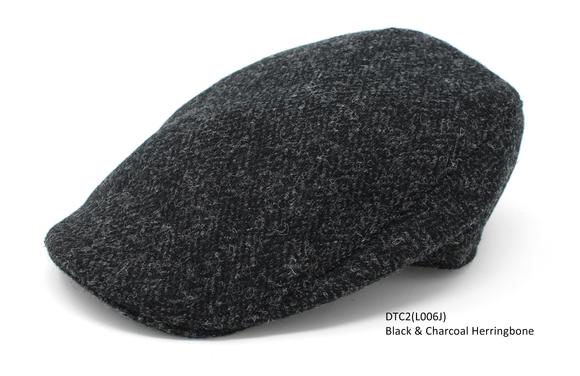 Black & Charcoal Herringbone Donegal Touring Cap
