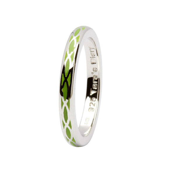 Green Enamel Helix Silver Stacking Ring