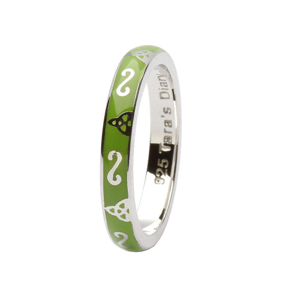 Green Enamel Trinity Silver Stacking Ring