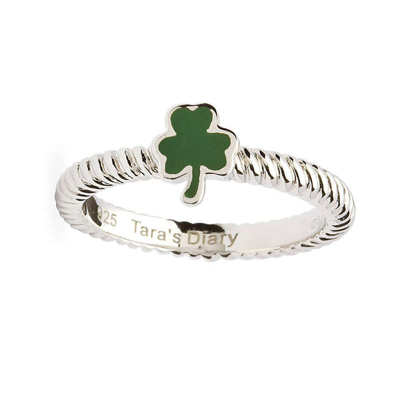 Green Enamel Shamrock Silver Stacking Ring