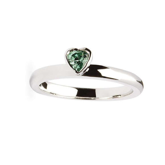 Emerald Heart Silver Stacking Ring