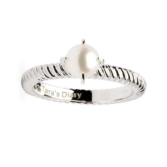 Pearl Spiral Band Silver Stacking Ring