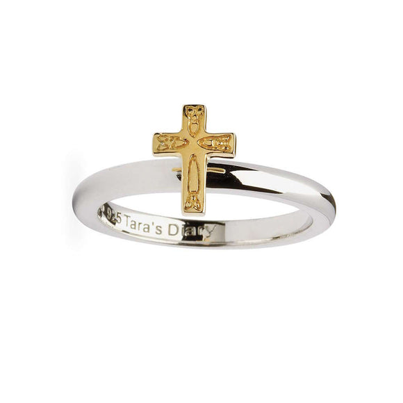 Celtic Trinity Cross Silver Stacking Ring