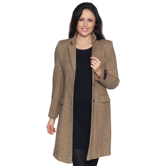 Ladies Beige Moon Tweed Coat