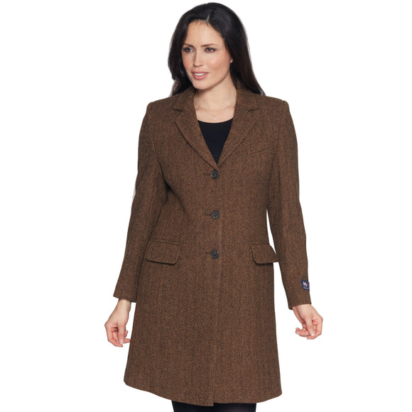 Ladies Brown Moon Tweed Coat