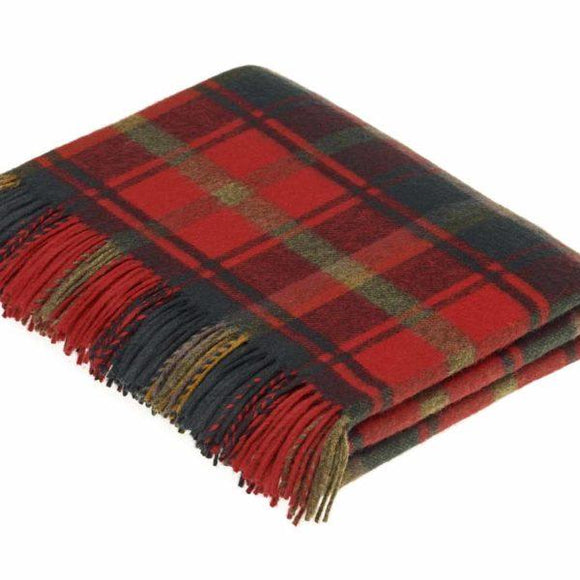 Dark Maple Tartan Merino Wool Throw