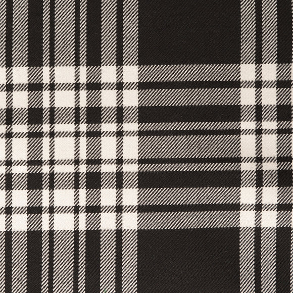 Menzies Black Tartan Poly Viscose Cloth
