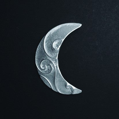 Celtic Spirals Crescent Moon Pewter Brooch