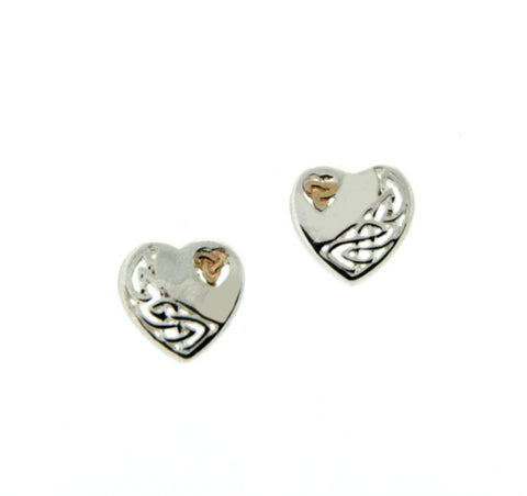 Celtic Heart Post Earrings