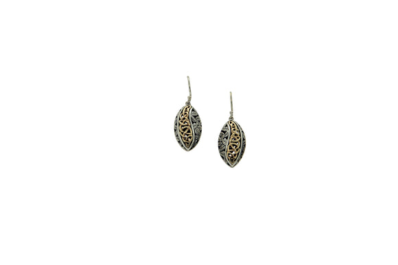 Oxidized Silver & Yellow Gold Eternity Leaf Earrings