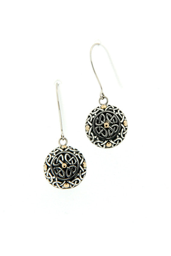 Labyrinth Round Oxidized Hook Earrings