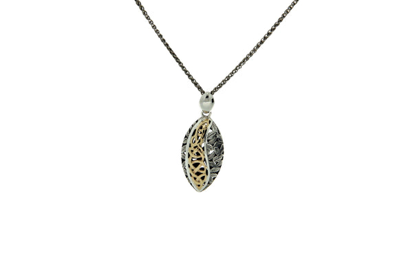 Oxidized Silver & Yellow Gold Eternity Leaf Pendant