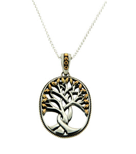 Tree of Life Large Pendant S/Sil + 18k