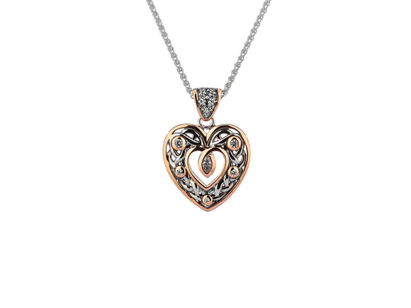 Silver & Rose Gold Double Sided Heart Pendant