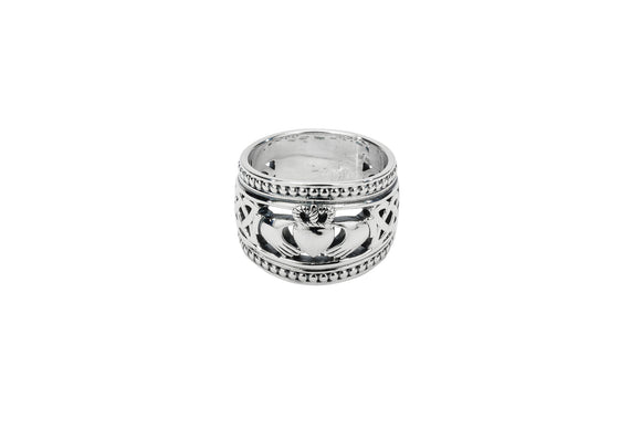 Silver Claddagh Shield Ring