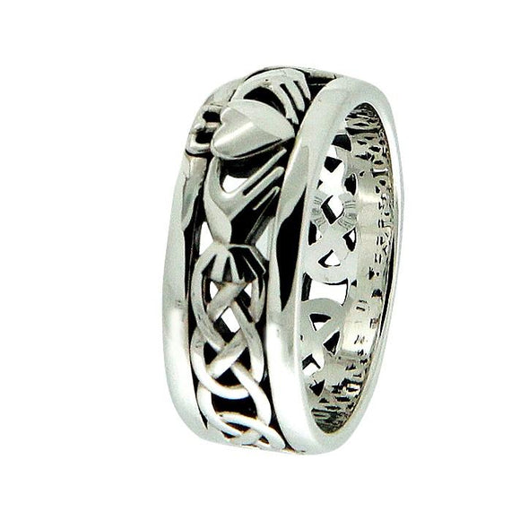 Oxidized Silver Claddagh Wedding Ring