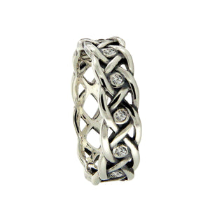 Love Knot with 8 Interwoven CZ Ring