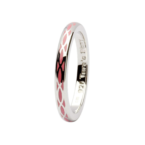 Pink Enamel Helix Silver Stacking Ring