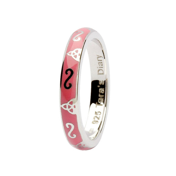 Pink Enamel Trinity Silver Stacking Ring