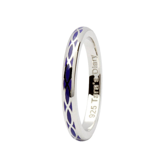 Purple Enamel Helix Silver Stacking Ring