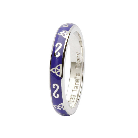 Purple Enamel Trinity Silver Stacking Ring