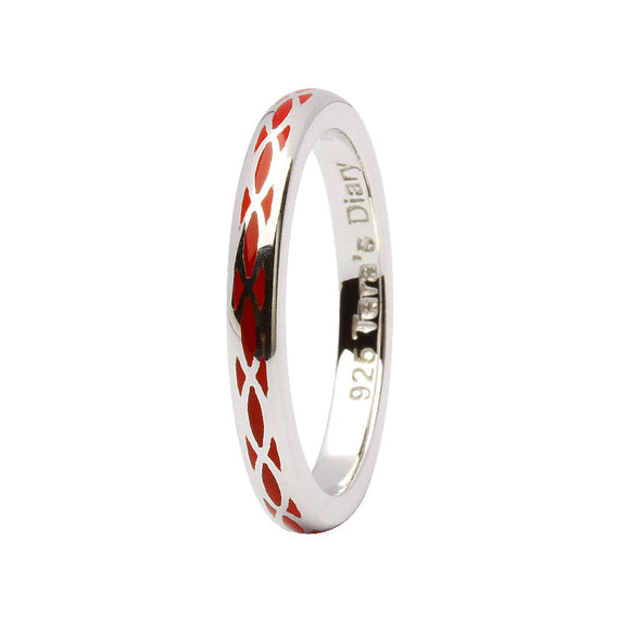 Red Enamel Helix Silver Stacking Ring