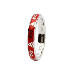 Red Enamel Trinity Silver Stacking Ring