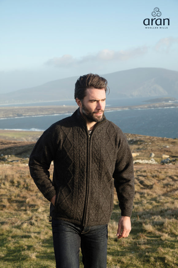 New Wool Aran Lined Zipper Cardigan