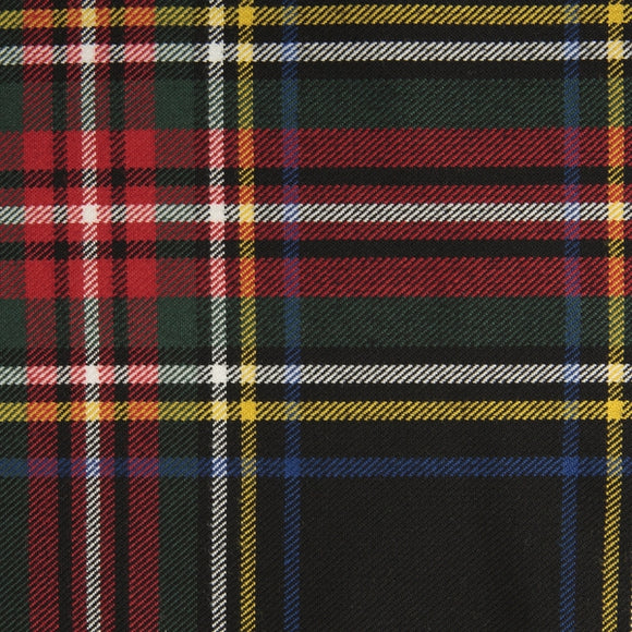 Stewart Black Tartan Poly Viscose Cloth