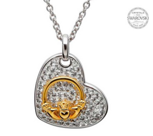 Claddagh Heart Necklace Encrusted With Swarovski Crystals
