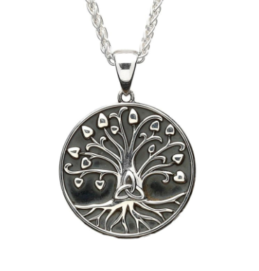 Silver Tree Of Life Trinity Medallion Necklace